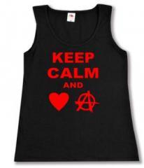 """Zum tailliertes Tanktop """"Keep calm and love anarchy"""" für 11,70 € gehen."""