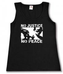 """Zum tailliertes Tanktop """"No Justice - No Peace"""" für 11,70 € gehen."""