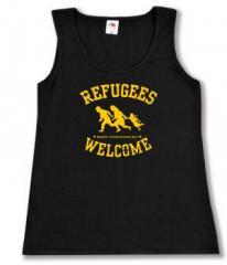 """Zum tailliertes Tanktop """"Refugees welcome"""" für 11,70 € gehen."""