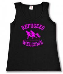 """Zum tailliertes Tanktop """"Refugees welcome (pink)"""" für 12,00 € gehen."""