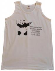 "Zum Tanktop ""destroy racism - be like a panda"" für 12,00 € gehen."