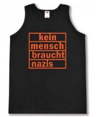 """Zum Tanktop """"kein mensch braucht nazis (orange)"""" für 12,00 € gehen."""
