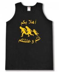 """Zum Man Tanktop """"Refugees welcome (arabisch)"""" für 12,00 € gehen."""