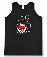 """Zum Tanktop """"RollifahrerIn Antifaschistische Aktion (rot/schwarz)"""" für 11,70 € gehen."""