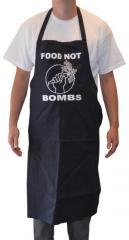 """Zur Grillschürze """"Food not Bombs"""" für 19,95 € gehen."""