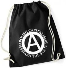 """Zum Sportbeutel """"Abolish Capitalism - Smash The State"""" für 7,80 € gehen."""