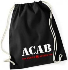 """Zum Sportbeutel """"ACAB Antifa Action"""" für 8,00 € gehen."""