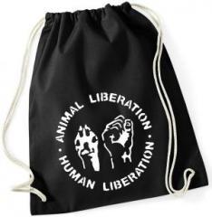 """Zum Sportbeutel """"Animal Liberation - Human Liberation"""" für 7,80 € gehen."""