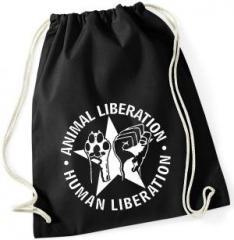 """Zum Sportbeutel """"Animal Liberation - Human Liberation (mit Stern)"""" für 7,80 € gehen."""
