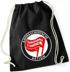 """Zum Sportbeutel """"Antifaschistische Aktion Linksjugend"""" für 11,00 € gehen."""