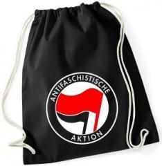 """Zum Sportbeutel """"Antifaschistische Aktion (rot/schwarz)"""" für 7,80 € gehen."""