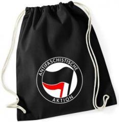 """Zum Sportbeutel """"Antifaschistische Aktion (schwarz/rot)"""" für 7,80 € gehen."""