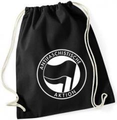 """Zum Sportbeutel """"Antifaschistische Aktion (schwarz/schwarz)"""" für 7,80 € gehen."""