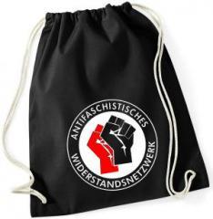 """Zum Sportbeutel """"Antifaschistisches Widerstandsnetzwerk - Fäuste (rot/schwarz)"""" für 9,75 € gehen."""