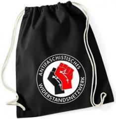 """Zum Sportbeutel """"Antifaschistisches Widerstandsnetzwerk - Fäuste (schwarz/rot)"""" für 10,00 € gehen."""