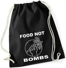"""Zum Sportbeutel """"Food Not Bombs"""" für 7,80 € gehen."""