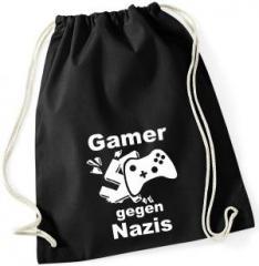 """Zum Sportbeutel """"Gamer gegen Nazis"""" für 7,80 € gehen."""