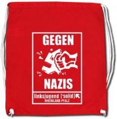 """Zum Sportbeutel """"Gegen Nazis - linksjugend [´solid] Rheinland-Pfalz"""" für 11,00 € gehen."""