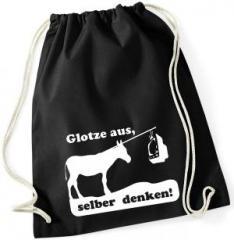 """Zum Sportbeutel """"Glotze aus, selber denken!"""" für 8,00 € gehen."""