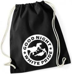 """Zum Sportbeutel """"Good night white pride - Dinosaurier"""" für 8,00 € gehen."""