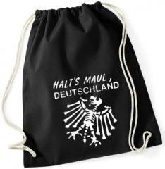 """Zum Sportbeutel """"Halt's Maul Deutschland (weiß)"""" für 7,80 € gehen."""