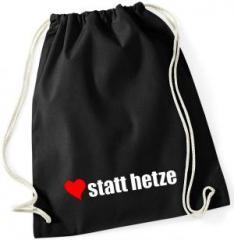 """Zum Sportbeutel """"herz statt hetze"""" für 7,80 € gehen."""