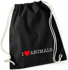 """Zum Sportbeutel """"I love Animals"""" für 8,00 € gehen."""