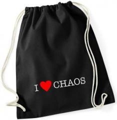 """Zum Sportbeutel """"I love Chaos"""" für 7,80 € gehen."""