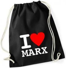 """Zum Sportbeutel """"I love Marx"""" für 8,00 € gehen."""