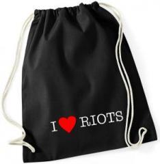 """Zum Sportbeutel """"I love Riots"""" für 8,00 € gehen."""