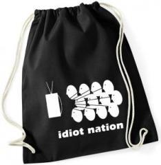 """Zum Sportbeutel """"Idiot Nation"""" für 8,00 € gehen."""