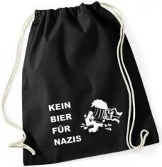 """Zum Sportbeutel """"Kein Bier für Nazis"""" für 8,00 € gehen."""