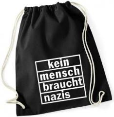 """Zum Sportbeutel """"kein mensch braucht nazis"""" für 8,00 € gehen."""