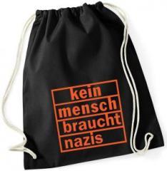 """Zum Sportbeutel """"kein mensch braucht nazis (orange)"""" für 8,00 € gehen."""