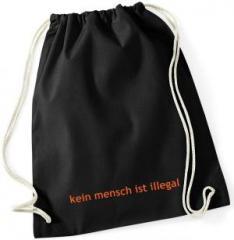 """Zum Sportbeutel """"kein mensch ist illegal - Text"""" für 8,00 € gehen."""
