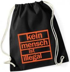"""Zum Sportbeutel """"Kein Mensch ist illegal"""" für 8,00 € gehen."""