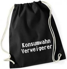 """Zum Sportbeutel """"Konsumwahn Verweigerer"""" für 7,80 € gehen."""