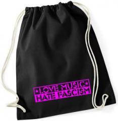 """Zum Sportbeutel """"Love Music Hate Fascism (pink)"""" für 7,80 € gehen."""