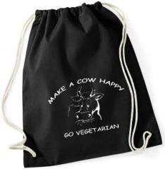 """Zum Sportbeutel """"Make a Cow happy - Go Vegetarian"""" für 7,80 € gehen."""