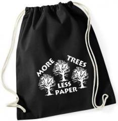"""Zum Sportbeutel """"More Trees - Less Paper"""" für 8,00 € gehen."""