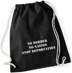 """Zum Sportbeutel """"No Border - No Nation - Stop Deportation"""" für 8,00 € gehen."""