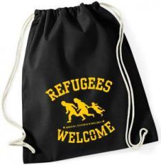 """Zum Sportbeutel """"Refugees Welcome"""" für 7,80 € gehen."""