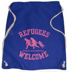 """Zum Sportbeutel """"Refugees welcome (blau, pinker Druck)"""" für 8,00 € gehen."""