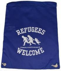 """Zum Sportbeutel """"Refugees welcome (blau, weißer Druck)"""" für 8,00 € gehen."""