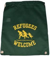 """Zum Sportbeutel """"Refugees welcome (grün, gelber Druck)"""" für 8,00 € gehen."""