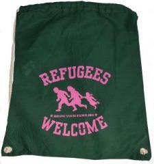 """Zum Sportbeutel """"Refugees welcome (grün, pinker Druck)"""" für 8,00 € gehen."""
