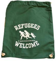 """Zum Sportbeutel """"Refugees welcome (grün, weißer Druck)"""" für 8,00 € gehen."""