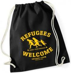 """Zum Sportbeutel """"Refugees welcome Linksjugend"""" für 11,00 € gehen."""
