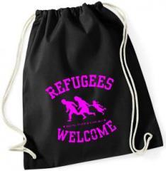 """Zum Sportbeutel """"Refugees welcome (pink)"""" für 8,00 € gehen."""