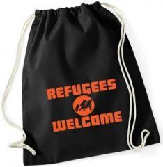 """Zum Sportbeutel """"Refugees welcome (Quer)"""" für 8,00 € gehen."""